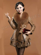 100% Real Sheep Leather Down Coat Jacket Fox Fur Collar Outwear Clothing Winter
