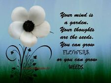 Your Mind is a Garden Quote Floral Inspirational Matted Picture Art Print A690