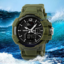 New Military Army Dual Time Digital LED Date Alarm Mens Sport Rubber Wrist Watch