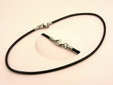 ~Custom Made~STAINLESS STEEL Silver 3mm Dark Brown LEATHER Choker Cord NECKLACE