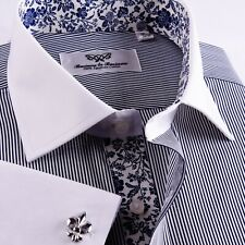 Purple Formal Business Dress Shirt Striped White Contrast Spread Collar Paisley