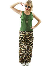 Adult Ladies Camo Army Girl Sexy Soldier Uniform Fancy Dress Costume Outfit