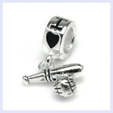 STR Silver Sport I Love Baseball Exercise Ball Bead f/ European Charm Bracelet