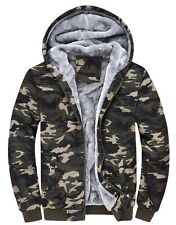 NTS Men's Winter Warm Insulated Camouflage Front Zip Up Fur Hooded Hoodie XS-XL