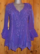 New PRETTY ANGEL SHIRT blouse RUFFLES & LACE S M vintage BOLERO gypsy XMAS GIFT