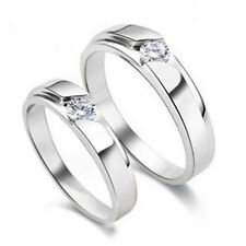 New Love Crystal Silver Couple Rings Wedding Band His and Her Promise Rings Gift
