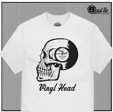 VINYL HEAD T SHIRT  TURNTABLE DJ CLASSIC RECORDS 1200 MPC HIP HOP MIXER
