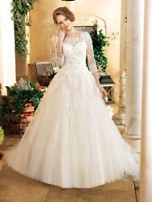 New Elegant with 3/4 Sleeve Ball Gown Wedding Dress Lace Bridal Gown Custom Made