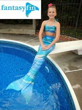 SWIMMABLE MERMAID TAIL & MONOFIN WITH FREE BIKINI TOP, OCEANA SWIRL