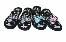 Womens Flip Flops Summer Beach Sandals FlatsThongs Butterfly pattern # WL022