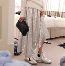 Women`s Silver Sequin-embossed A-Line Long Skirt XS,S,6,8 Elastic Waist Band