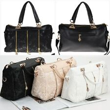 Celebrity Women Lace Faux Leather Satchel Tote Handbag Messenger Shoulder Bag