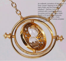 Harry Potter Hermione Rotating Time Turner Hour glass 18k Gold Necklace
