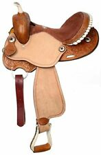"""15"""", 16"""" Double T Barrel Style Saddle with Round Skirts.  MPN 494"""