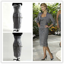 Short cocktail mother of bride dress satin lace knee-length grey
