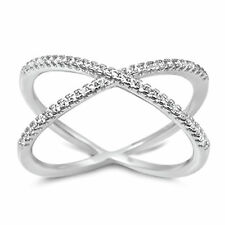 Sterling silver cross over X band criss cross anniversary ring sizes 5 to 10