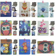"""Fold Cute Cartoon Owl Printed Leather Stand Case Smart Cover For 9""""-10.5"""" Tablet"""