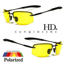 SPORT WRAP HD NIGHT DRIVING VISION POLARIZED SUNGLASSES YELLOW METAL GLASSES