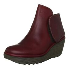Fly london Yogi Red Leather New Womens Ankle Wedge Shoes Boots