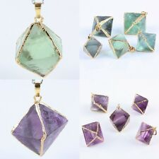 Amethyst Fluorite Crystal Stone Rhombus Point Gemstone Pendant Bead Fit Necklace