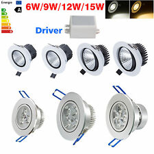 Dimmable 6W 9W 12W 15W COB LED Recessed Ceiling Spot Downlight Cabinet Lamp Kit