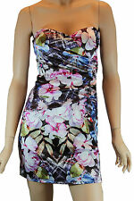 Ladies Dotti Black Floral Strapless Evening Party Formal Cocktail Satin Dress