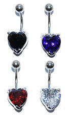 HEART BELLY BAR SURGICAL STEEL GEM CRYSTAL CLAW SET CZ NAVEL PIERCING 1.6 X 10MM