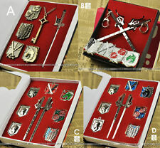Attack on Titan Keychain /necklace / badge Set 4STYLE