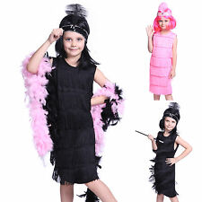 1920s Kids Girls Fringe Flapper Costume Charleston Dance Fancy Dress w/ Headband