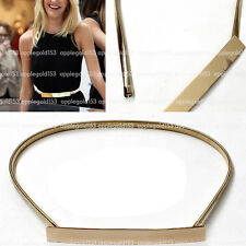 Women Thin Skinny Stretch Elastic Mirror Full Metal Gold Plate Waist Belt Obi