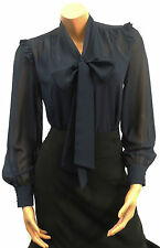 New Ladies Blue Crepe chiffon Vtg style Pussy Bow Office Work smart Blouse