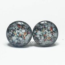 Flowers on Black Stainless Steel Stud Earrings - Mens Womens Fashion - New