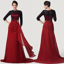 NEW Long Sleeve Floor-Length Chiffon Ball Gown CocktailEvening Prom Party Dress