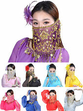 Women Lady Belly Dance Tribal Face Veil Face Shawl Scarf Wrap With Beads Sequin