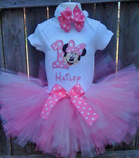 1st Birthday Minnie Mouse Little Girls Toddler Onesie Tutu Outfit FREE Hair Bow