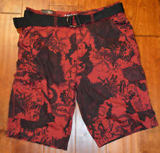 Men's Carbon Red Floral Classic Length Cargo Shorts With Belt 26, 32, 34, 36, 38
