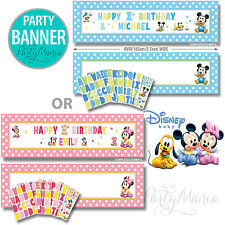 MINNIE OR MICKEY MOUSE 1ST FIRST BIRTHDAY PARTY GIANT CUSTOMIZABLE BANNER