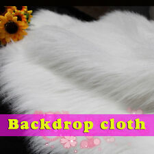 White, SHAGGY FAUX FUR FABRIC (LONG PILE FUR),background, photo backdrops, BTY
