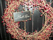"Primitive Signs ""Handmade"" Rustic Wood Wreath & Grapevine Hanging Decor Signs"