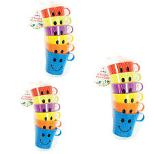 6 Plastic Colour Happy Smiley Mugs Cups With Handle Home Party Travel Camping