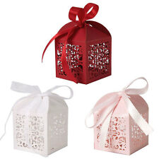 Floral Laser Cut Candy Gift Boxes Ribbon White Wedding Party Favour Table Decor
