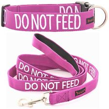 Snap Buckle Dog Collar Sets Do Not Feed Purple Short Long Leash Padded Handle