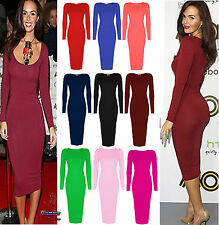Ladies Celebrity Inspired Long Sleeve Bodycon Womens KneeLength Midi Party Dress