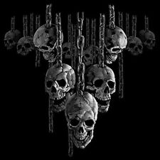 Biker T-Shirt Hanging Out Skulls On Chains Tee