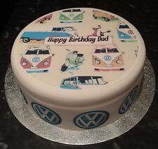 VW Camper Van & Scooters Icing, Frosting, Sugar Topper &/or Ribbon Birthday Cake