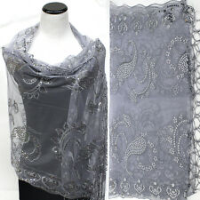 Sequin Beaded Shawl Flower Wedding Party Gift Evening Scarf Wrap Fringe Silver