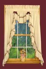 Priscilla Country Curtains With Band & Bows FILLER Valance 6 colors  Natural BG