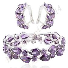Colorful Sapphire Earrings&Bracelet 14KT White Gold Filled Women's Jewelry Sets