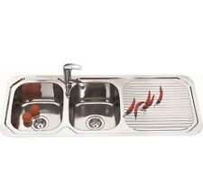 1180mm Double Bowl Square Kitchen Sink with Drainer Board Topmount