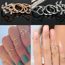 Cheap Pop 4PCS/Set Urban Gold Plated Crystal Plain Above Knuckle Rings Band Ring